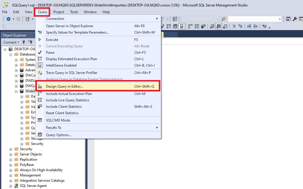 Query design in ssms Step 3